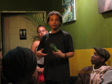 Conversation during the Open mic
